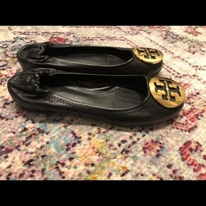 Tory Burch Black Leather Ballet Flats Size 5